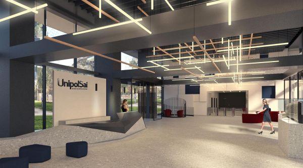Rendering interni nuova sede UnipolSai di via De Castillia a Milano (Progetto CMR)