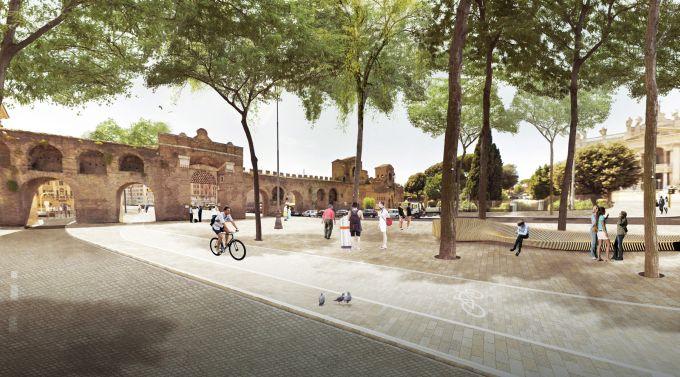 Rendering Porta San Giovanni dopo la piantumazione degli alberi