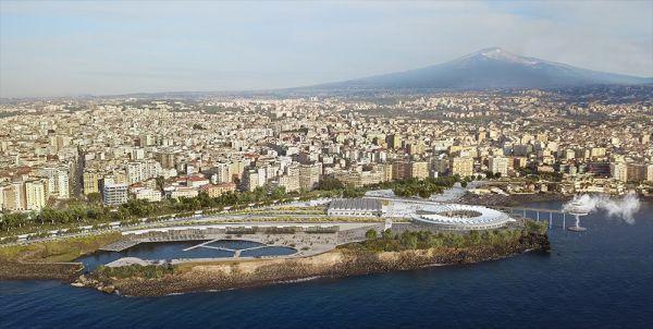 Render del masterplan del lungomare di Catania