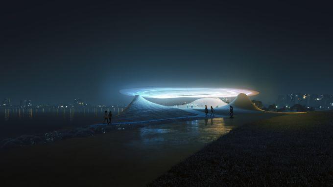 Cina: vista notturna del Roadshow Center