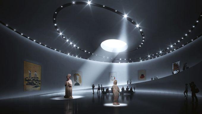 Cina: la sala espositiva del Roadshow Center con luci a led