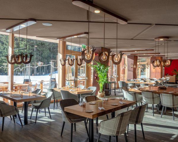 Soluzioni acustiche verticali e monolitiche Rockfon per gli ambienti dell'Active Luxury Resort a Champoluc