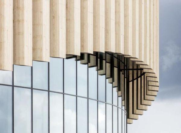 La calda facciata in legno della royal-arena di Copenhagen