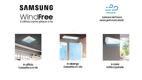 Climatizzazatore Windfree di Samsung senza getto diretto d'aria