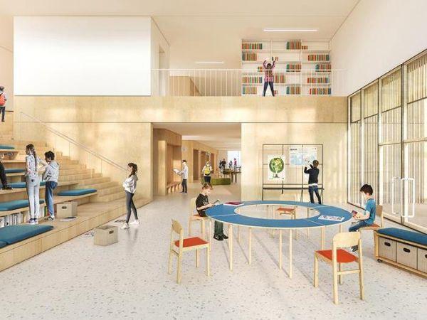 Auditorium e biblioteca della scuola realizzata a Sassa in provincia de L'Aquila