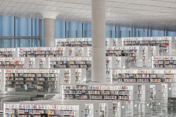 Gli scaffali libri della Biblioteca Nazionale del Qatar