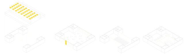 Schema delle possibili configurazioni delle sale polivalenti, capannoni Botti, ex MANIFATTURA TABACCHI
