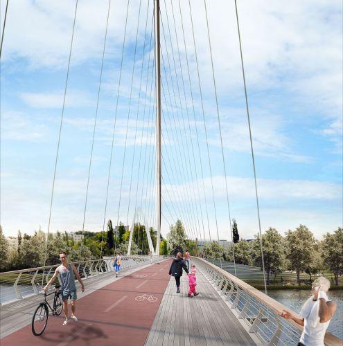 "Il percorso ciclo-pedonale che attraversa il ponte di Praga ""Lávka Holešovice Karlín"""