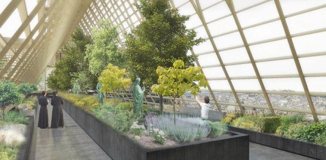 La serra prevista dal progetto dello studio di architettura parigino NAB nella riqualificazione di Notre Dame