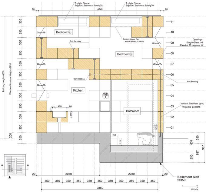 Final Wooden House, sezione (credits SFA)