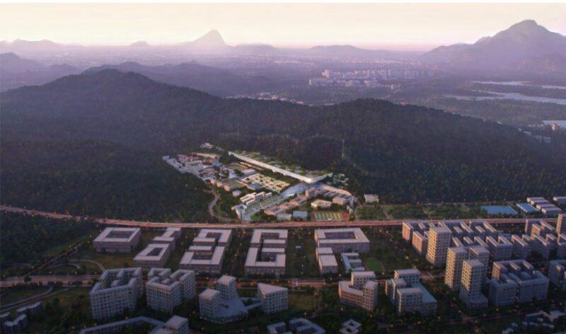 Nuovo istituto di design e innovazione a Shenzhen. Vista dall'alto