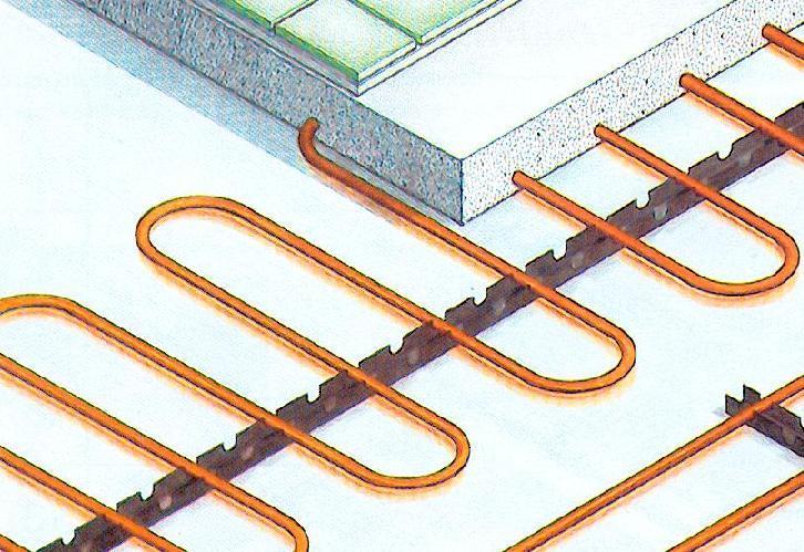 Pavimento radiante: Particolare del sistema di posa delle serpentine in rame