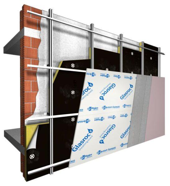 Sistema per la facciata ventilata Saint Gobain formato da Glasroc X e da un pannello Isover X60 VN