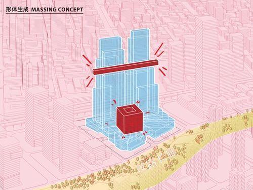 CMG Qianhai Global Trade Center a Shenzhen: skybridge e cubo sospeso