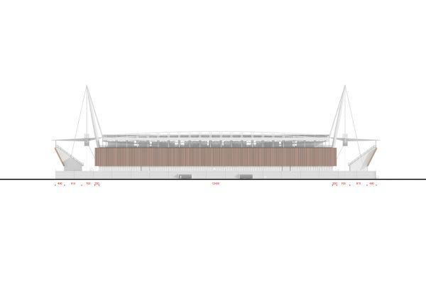 Nuovo stadio Novara, prospetto est