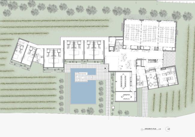 La pianta del nuovo hotel di Steven Holl Loisium a Langenlois in Austria