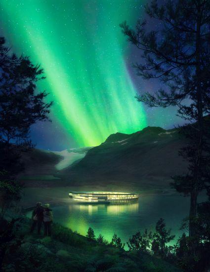 Render dell'hotel Svart in Norvegia, a energia positiva e dell'aurora boreale