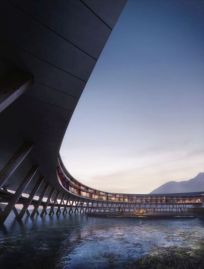 Render dell'hotel Svart in Norvegia con il particolare della parte sottostante l'albergo