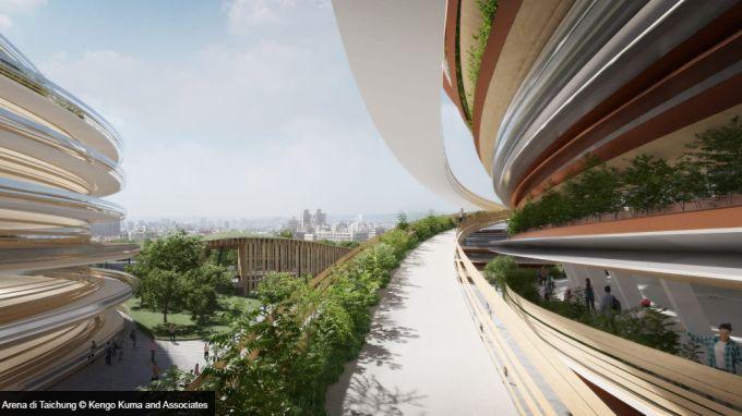 Taichung Arena di Taiwan: la rampa che porta al tetto