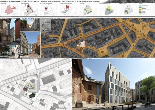 Riqualificazione del complesso edilizio di via delle Orsole di Milano, tavola progetto vincitore