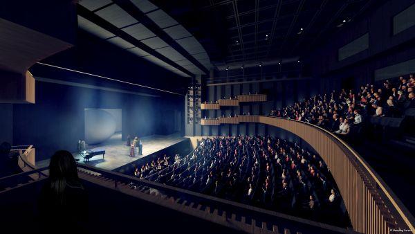 Ampliamento del Teatro dell'Opéra della Bastiglia: sala di 800 posti modulabile (render Henning Larsen)