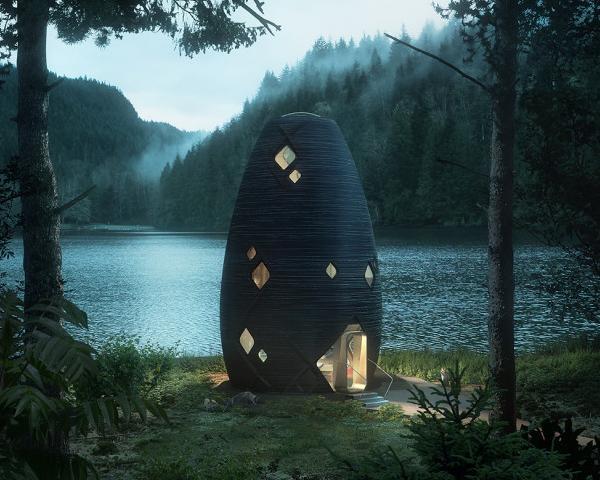 Lo Studio AI SpaceFactory ha realizzato TERA, un'abitazione sostenibile immersa nei boschi dello stato di New York