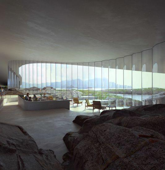 Interni di The Whale, il nuovo centro turistico del circolo polare artico.
