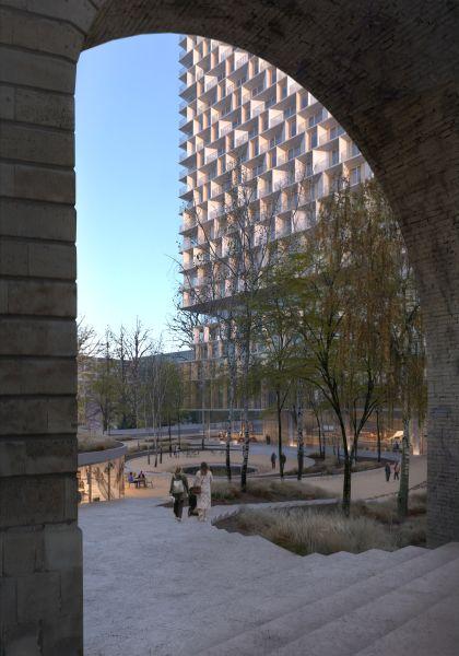 La facciata della Tilia Tower di Losanna
