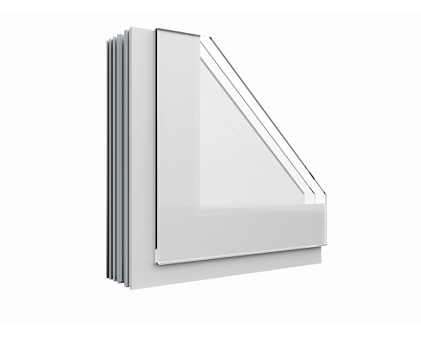 Dettaglio della finestra Agostini Fibexinside 500 Total Glass in bianco