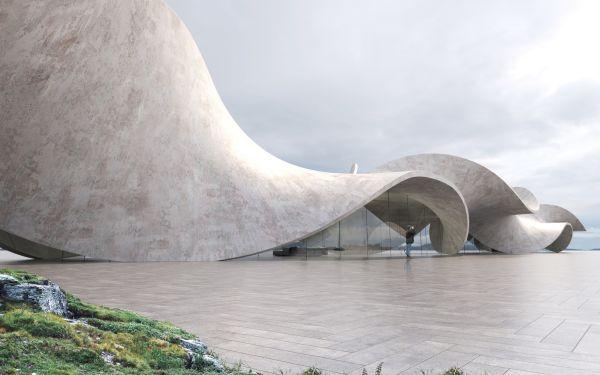 La vetrata esterna di Twine che sembra una scultura di cemento
