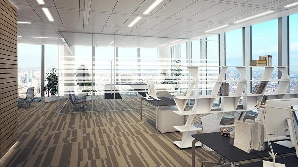 Le postazioni di lavoro all'interno degli uffici della torre di Libeskind a Milano