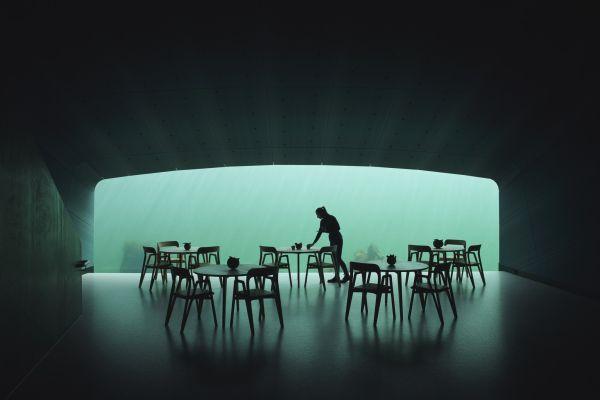 Una cena sotto il mare nel ristorante Under di Snøhetta