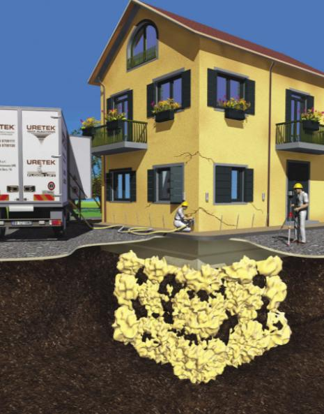 L'azienda Uretek propone delle iniezioni di resina Geoplus® che consentono il consolidamento non invasivo di edifici storici, capannoni industriali, ville, condomini ecc.