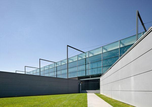 Particolare della sede del gruppo Prada inaugurata a Valvigna, Arezzo.