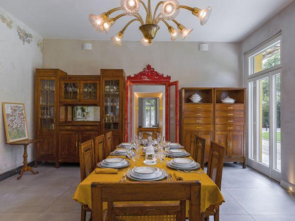 Villa Castelli sul lago di Como, la sala da pranzo