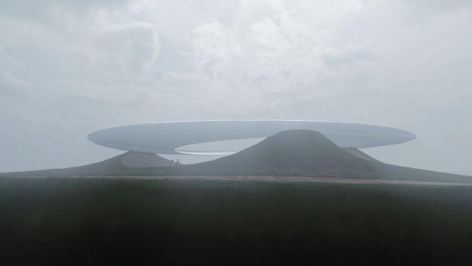 Cina: il Roadshow Center sul lago Xinglong a forma di astronave