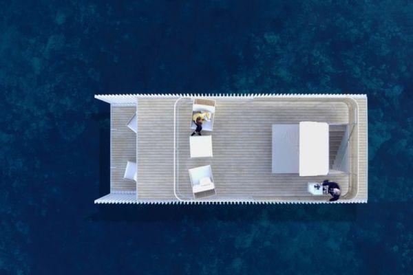 Vista dall'alto della camera d'albergo galleggiante Punta de Mar