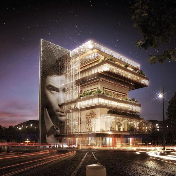 Parigi: un progetto visionario divide a metà l'Arco di Trionfo. vista serale