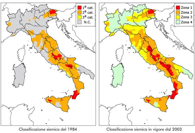 Divisione zone sismiche in Italia